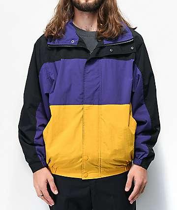 Deathworld Romulus chaqueta cortavientos negra, morada, y amarilla