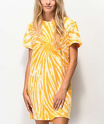 Desert Dreamer Orange Cream Tie Dye T-Shirt Dress