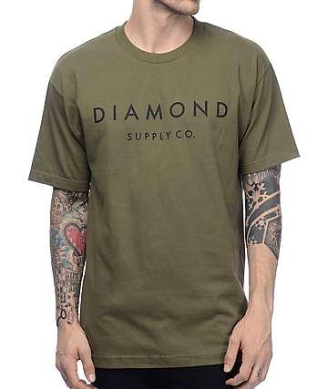 Diamond Supply Co Stone Cut Military Green T-Shirt