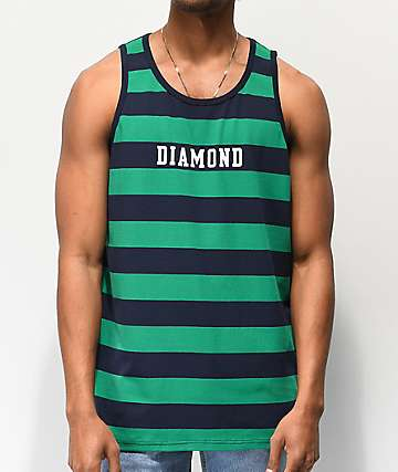 Diamond Supply Co. Block Green & Navy Stripe Tank Top