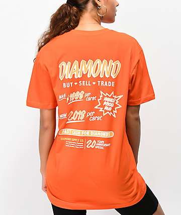 Diamond Supply Co. Ca$h For Diamonds Orange T-Shirt