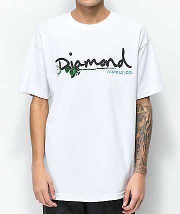 Diamond Supply Co. Floral Gem Script White T-Shirt