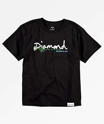 Diamond Supply Co. Gem Script camiseta negra para niños