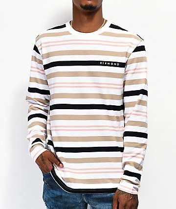 Diamond Supply Co. Marquise White, Brown & Orange Striped Long Sleeve T-Shirt