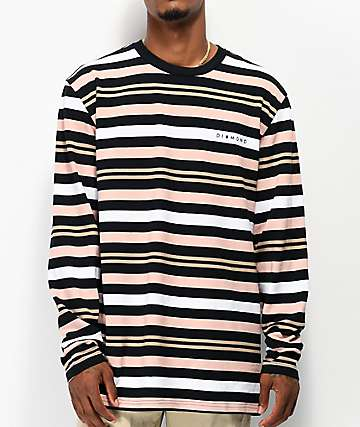 Diamond Supply Co. Marquise camiseta de manga larga con rayas negras, marrones y naranjas