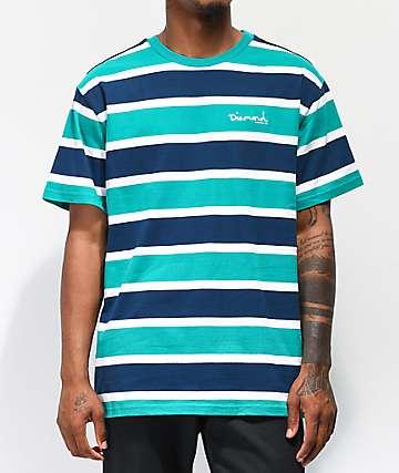 Diamond Supply Co. Mini Script Teal Striped Knit T-Shirt