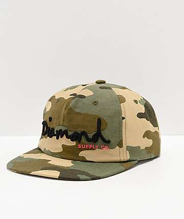Diamond Supply Co. OG Script Camo Strapback Hat