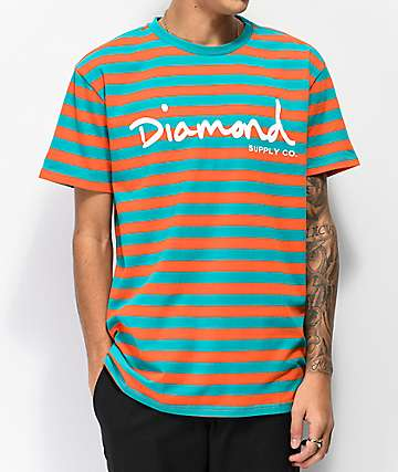 Diamond Supply Co. OG Script Orange & Turquoise Striped T-Shirt