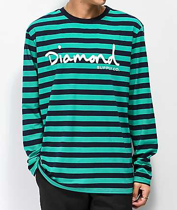 Diamond Supply Co. OG Script Turquoise & Navy Striped Long Sleeve T-Shirt