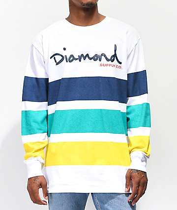 Diamond Supply Co. OG Script White, Navy, Green & Yellow Long Sleeve T-Shirt