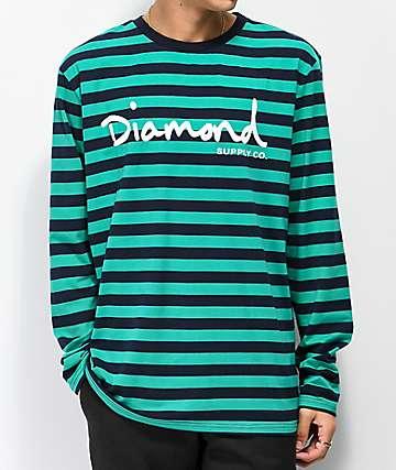 Diamond Supply Co. OG Script camiseta de manga larga turquesa y negra