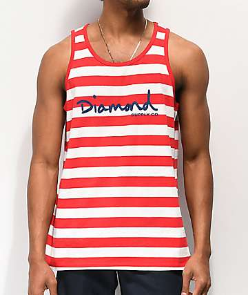 Diamond Supply Co. OG Script camiseta sin mangas roja y blanca de rayas
