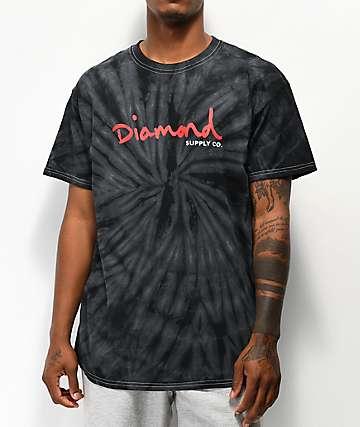 Diamond Supply Co. OG Script camiseta tie dye negra