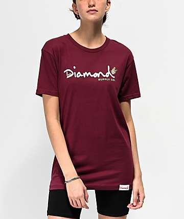Diamond Supply Co. Paradise OG Script camiseta borgoña