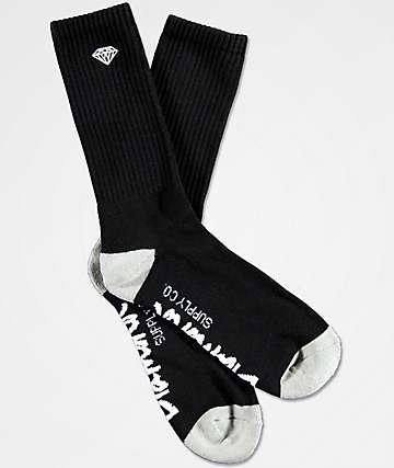 Diamond Supply Co. Rock Logo & Script Black Crew Socks
