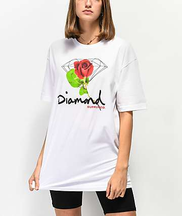 Diamond Supply Co. Rose OG Sign White T-Shirt