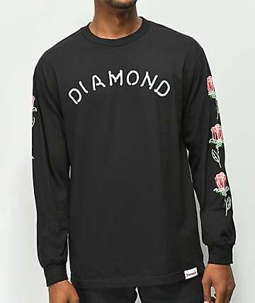 Diamond Supply Co. Rosette Black Long Sleeve T-Shirt