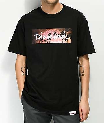 Diamond Supply Co. Sunset Palms camiseta negra