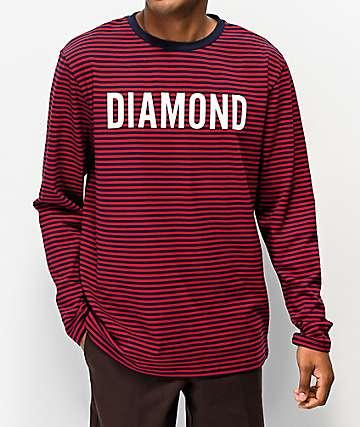 Diamond Supply Co. camiseta de manga larga azul marino y rojo