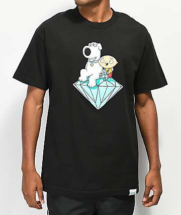Diamond Supply Co. x Family Guy Stewie & Brian camiseta negra