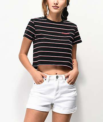 Dickies Baby Stripe Black Crop T-Shirt