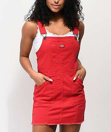 Dickies Bull Red Overall Dress