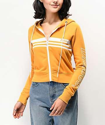 Dickies Chest Stripe Mustard Yellow Zip Crop Hoodie