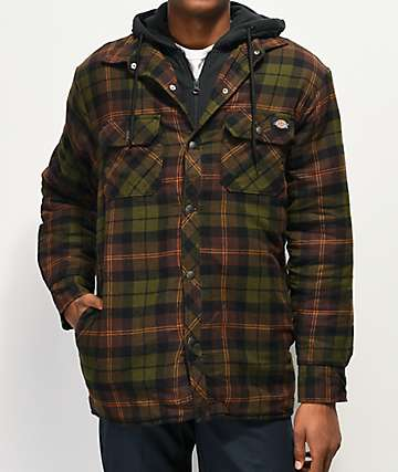 Dickies Green & Brown Hooded Flannel Shirt