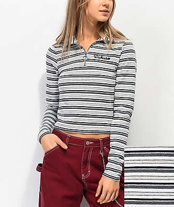 Dickies Grey, White & Black Half Zip Mock Neck Long Sleeve Crop Top