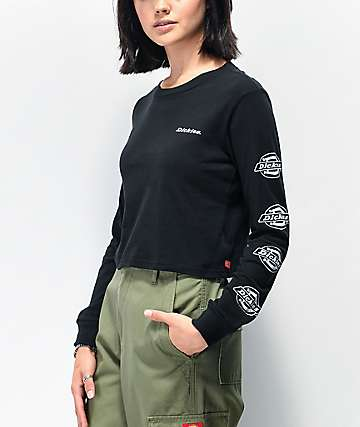 Dickies Icon Logo Black Crop Long Sleeve T-Shirt