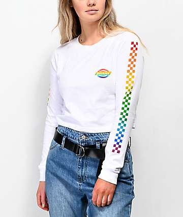 Dickies Icon Rainbow Check White Crop Long Sleeve T-Shirt