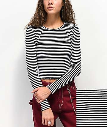 Dickies Rib Stripe Black & White Crop Long Sleeve Top