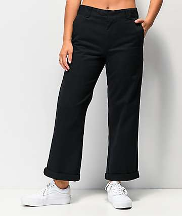 Dickies Roll Hem Black Cropped Work Pants