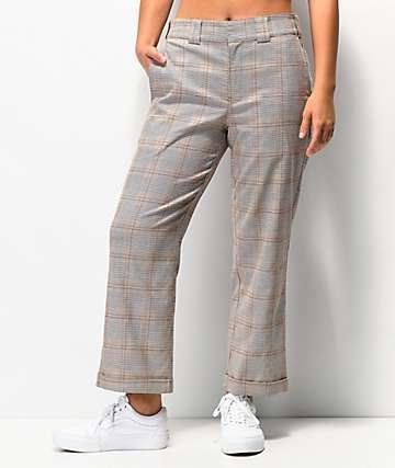 Dickies Roll Hem Brown Plaid Crop Work Pants