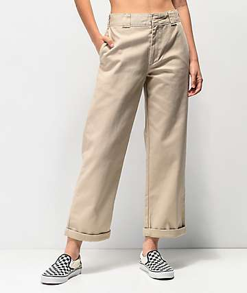 Dickies Roll Hem Khaki Cropped Work Pants