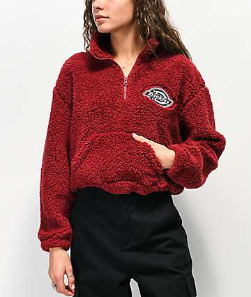 Dickies Sherpa Burgundy Crop Half Zip Fleece Sweatshirt