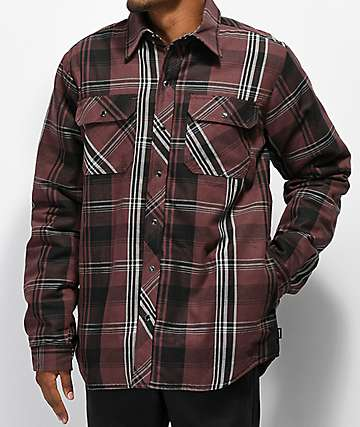 Dickies Snap Front Brown & Black Sherpa Flannel