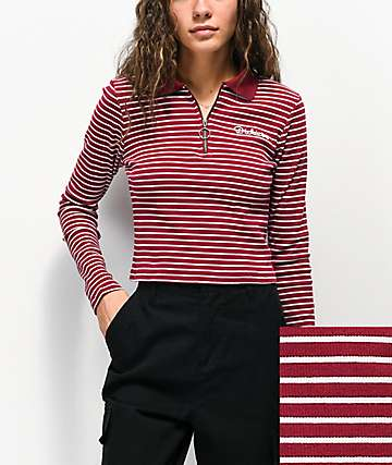 Dickies Stripe Burgundy & White Half Zip Crop Long Sleeve Polo Top