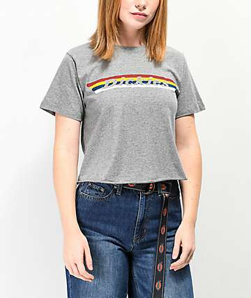 Dickies Vintage Rainbow Stripe Crop T-Shirt