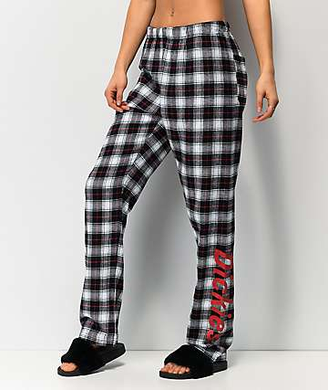 Dickies White & Black Plaid Flannel Lounge Pants