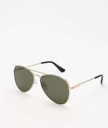 Dot Dash Aerogizmo Gold & Green Sunglasses
