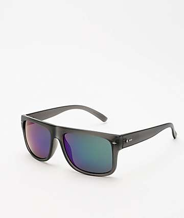 Dot Dash Sidecar Translucent Grey & Green Chrome Sunglasses