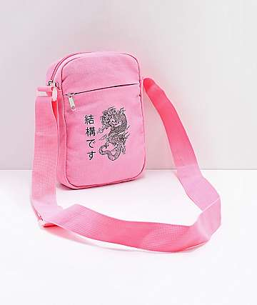 Dragon Kanji Pink Shoulder Bag