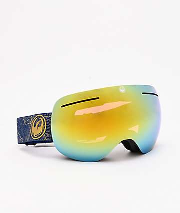 Dragon X1 Golden Palms & Gold Ion Snowboard Goggles