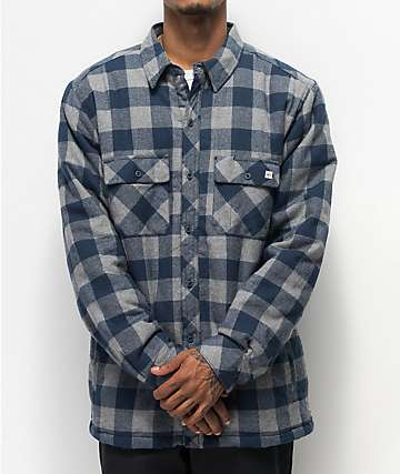 Dravus Blue & Grey Sherpa Flannel Shirt