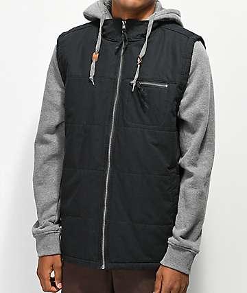 Dravus Dive Black & Grey 2Fer Vest Hoodie