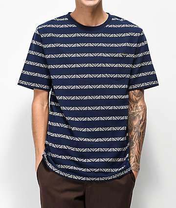 Dravus Ford Jacquard Striped Navy T-Shirt