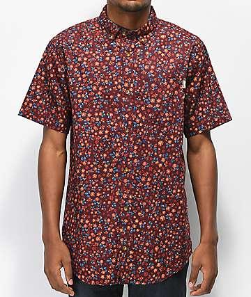 Dravus Geoff camisa floral borgoña