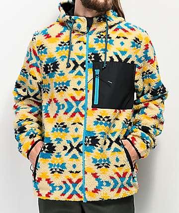 Dravus Glacier Tribal Print Beige Sherpa Tech Fleece Jacket