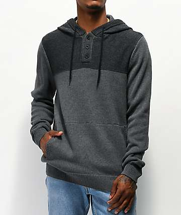 Dravus Legion Grey Henley Hooded Sweater